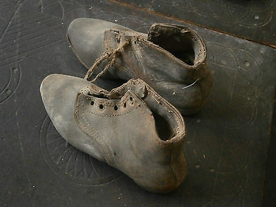 Old Rare Antique Unique Child Shoes From Leather