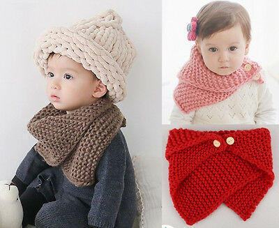 Baby Girl Boy Kids Knitted Scarf Shawl Cable Knit Stole Winter Warm Collar Cape