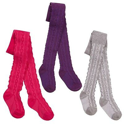 Girls Cable Tights 0-6,6-12,12-18,18-24 Mths Grey/purple/deep Pink Tick Tock