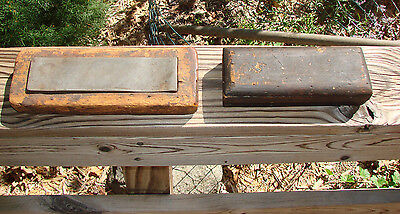 Vintage Sharpening Stone W/ Wooden Box Lot Of 2