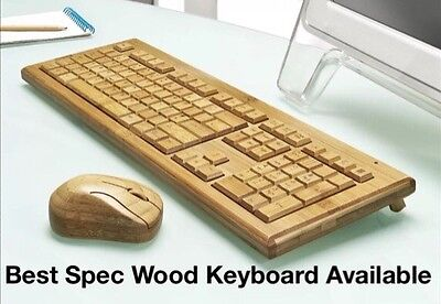 Bamboo Wood Wireless Key Board And Wireless Mouse Hand Made Solid Genuine Wood
