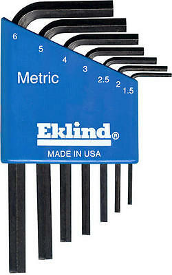 Eklind Metric MM Short Arm Allen Wrench Hex L Key 7 piece Case Set or Individual