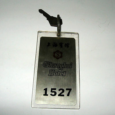 Vintage Shanghai Hotel #1527 China Advertising Room Key & Lucite Fob