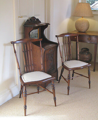 Pair of c1900 Art Nouveau Mahogany Spindle Back Upholstered Boudoir Chairs