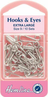 Hooks and Eyes size 9 Pk 10 Silver