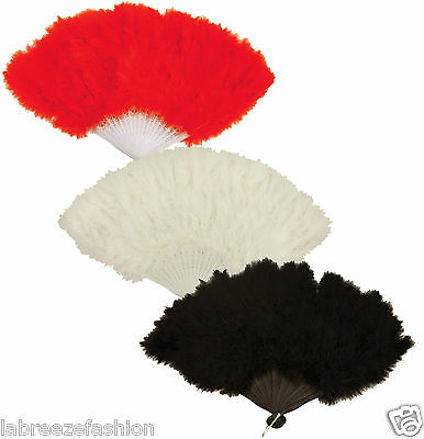 New Feather Hand Fan Black Red & White Burlesque Showgirl Hen Night Accessory