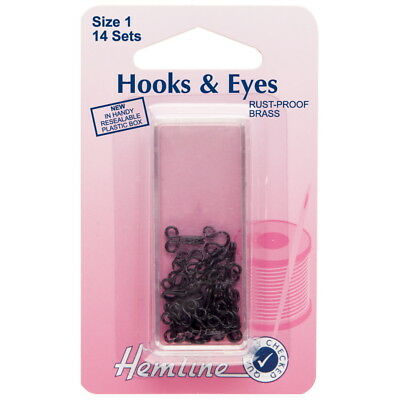 Hooks and Eyes size 1 Black Pk 14
