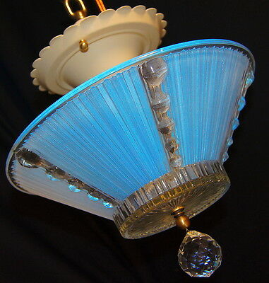 VTG DECO ERA SEMI FLUSH GLASS SHADE CHANDELIER LIGHT FIXTURE  1930's