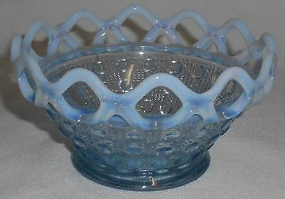 Imperial Glass LACE EDGE - BLUE OPALESCENT Button & Cane CANDY BOWL