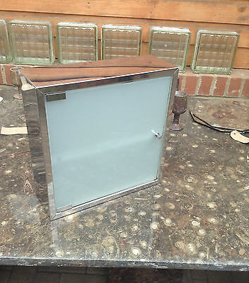 Retro Bathroon Cabinet Chrome / Stainless Steel Frosted Glass Unused Funky