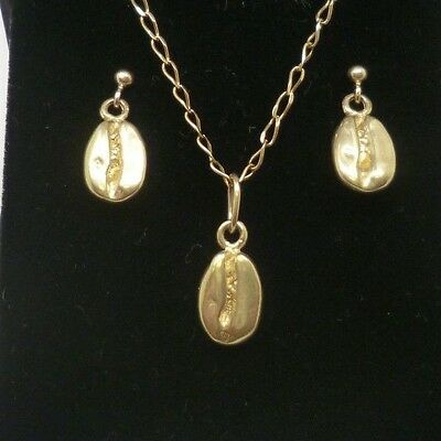 Lovely 9ct Yellow Gold Coffee Bean Pendant Chain Necklace & Drop Dangle Earrings