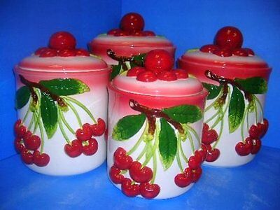 New Kitchen 4Pc 3D Cherries Cherry Canister Set Cookie Jars