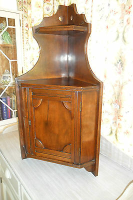 Antique Arts & Crafts Wood Hanging Corner Cabinet