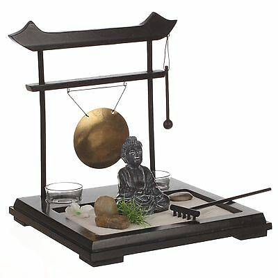 ZEN Garden Set: Buddha on wooden tray with gong 2 candleholders flower and pl...