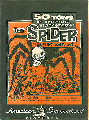 the Spider 1958 press book giant mutant  spider  Ed Kemmer, June Kenney