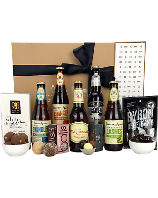 Byron Bay Gifts Beer & Byron Jerky Baskets Hamper