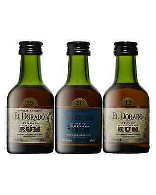 El Dorado Super Premium Rum Collection 12, 15, 21 Year Old 3 x 50mL bottle