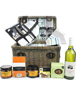 Pamper Hamper Gifts Australian Deluxe Gourmet Picnic Hamper for Two bottle