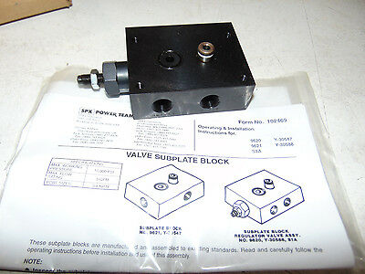 SPX Power Team Hydraulic Valve Subplate with Pressure Regulator SPX 9620