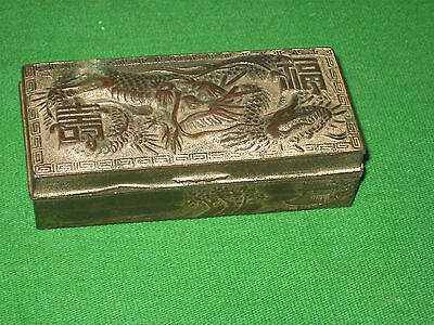 Vintage Small Metal Box with wood lining Japan Dragon on Top