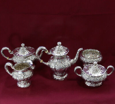 Rare UNGER BROTHERS 5-piece Tea & Coffee Set Sterling Repousse