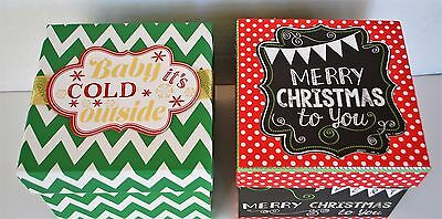 Christmas Gift Boxes Polka Dot and Chevron Patterns Set of 2 Square Shaped