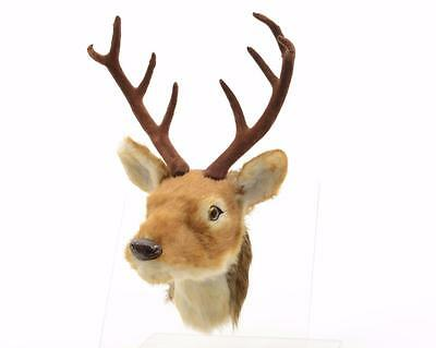 "NEW 13"" Faux Fur Plush Deer Head Christmas Wall Decoration 582263"