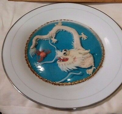 Chinese porcelain dragon plate 3D dragon enclosed in glass bubble handmade