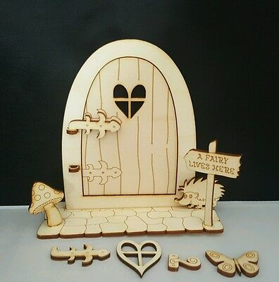 Wooden Fairy door that opens DIY for home or Fairy Garden Decor 11pcs