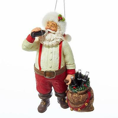 "NEW 5.5"" Large Kurt Adler Santa Drinking A Coke Christmas Ornament CC9162"