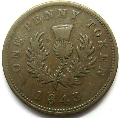 1843 Queen Victoria Province Of Nova Scotia 1d One Penny Token - Canada