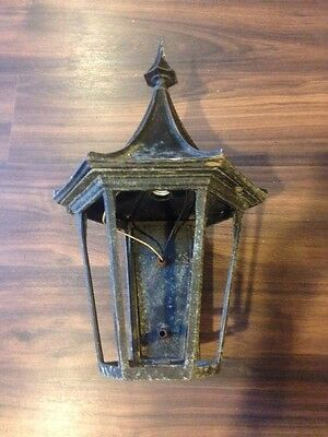 Sturdy Lantern Exterior Antique Cast Black Fixture Electric Wall Mount Tudor