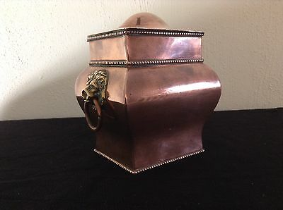 Antique Art Deco Copper & Silver Plate Tea Caddy With Lion Head Handles