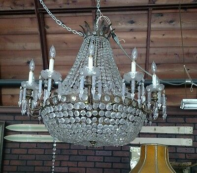 "Antique Gilded Brass ""Christopher Palm"" Chandelier"