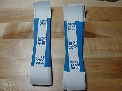 100 SELF SEALING BLUE $100 Currency Straps Bill Bands $100 QTY 100