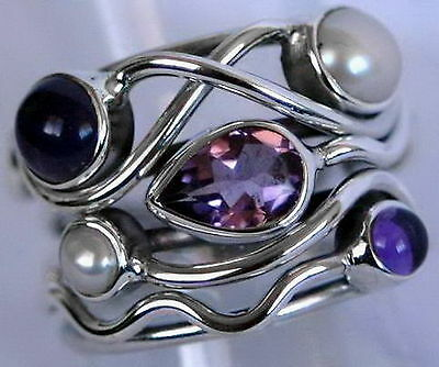 598 Gorgeous Amethyst & Pearl solid 925 sterling silver ring size O/7.5 rrp $99