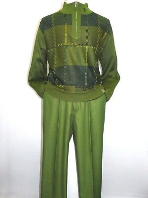 Men Stacy Adams Sweater Leisure Walking Two Piece Set Half Zipper 1314 Mos Green