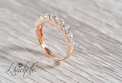 1.5 ct Pave Set Eternity Wedding Engagement Band Ring in Solid 14k Rose Gold
