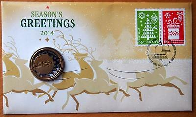 Australian Christmas 2014 Pnc Stamp And $1 Coin Covers