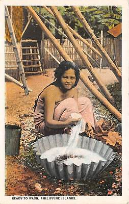 PHILIPPINE ISLANDS ~ NATIVE WOMAN READY TO WASH CLOTHES ~ c. 1915-30