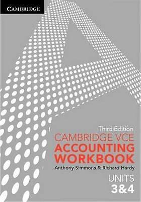 NEW Cambridge VCE Accounting Units 3&4 Workbook By Anthony Simmons Paperback