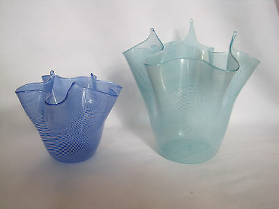 Pair Of Murano Art Glass Bowls Or Vases Blue And Green With White