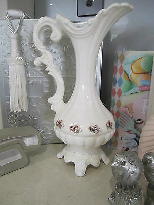 decorative vase/urn white and pink floral