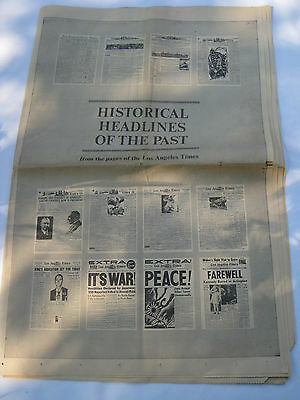"LA Times ""Historical Headlines of the Past"", Front Page Story Reprints"