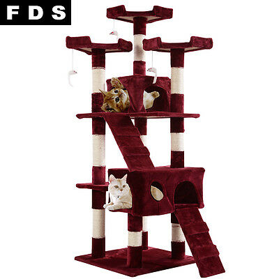 A 170CM Cat Scratcher Climb Post Tree Toy Activity Center Play Pole Kitten Bed