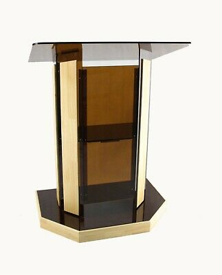 Wood Acrylic Church Conference Lectern Pulpit School Podium Slant Surface Podium