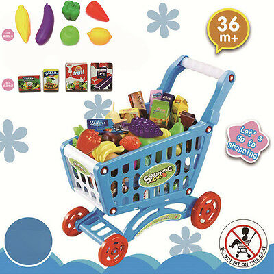 Kids Supermarket Plastic Trolley Shopping Cart With Groceries Food Role Play Toy