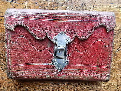 c1800 Antique Leather Wallet Blind Tooling Silver? Catch Marbled Paper Lining