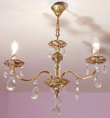Very Pretty 3 Light vintage French Crystal and Bronze Chandelier