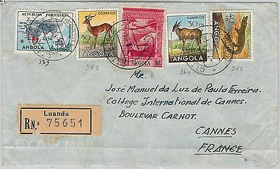 56542  - ANGOLA  -  POSTAL HISTORY:  REGISTERED COVER to FRANCE  1954